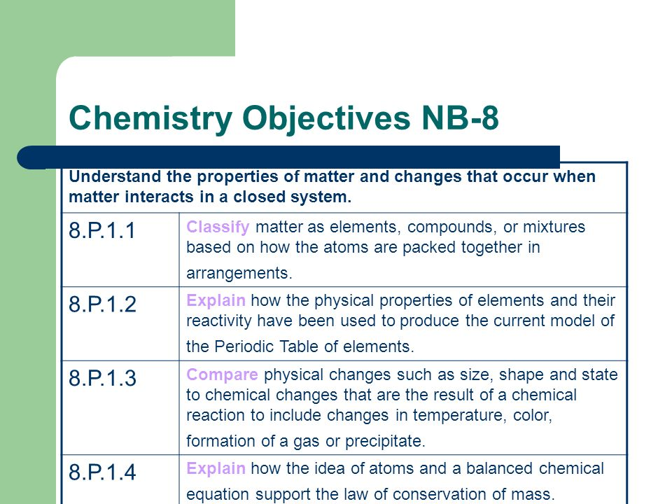 Chemistry Objectives NB-8 Understand the properties of matter and changes that occur when matter interacts in a closed system.