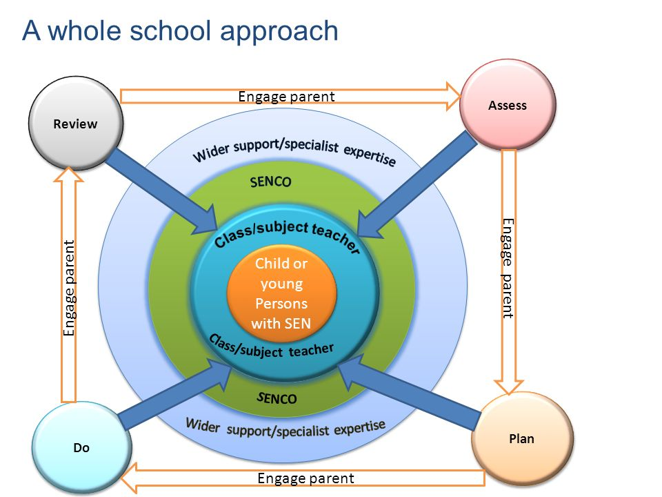 External support e e c c Child or young Persons with SEN Review Assess Do Plan A whole school approach Engage parent
