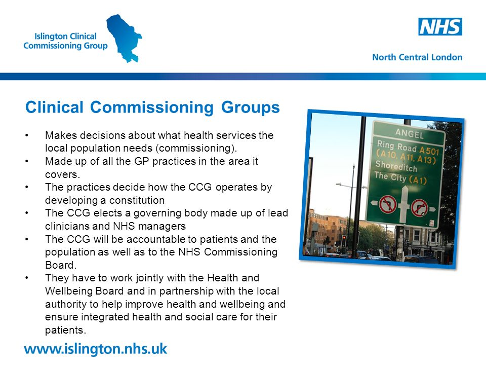 Makes decisions about what health services the local population needs (commissioning).