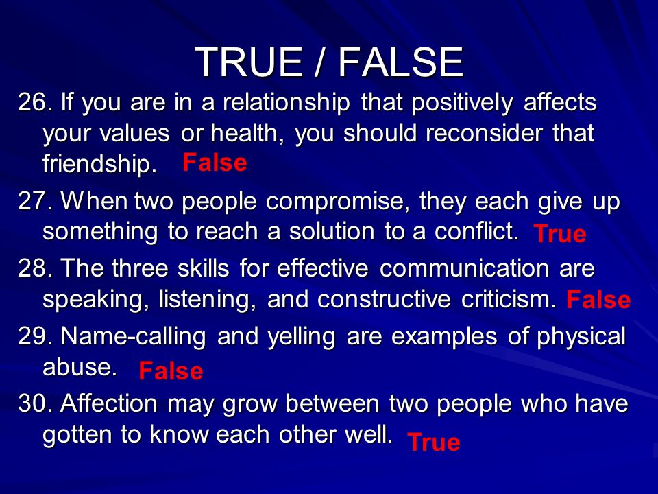 TRUE / FALSE 26.