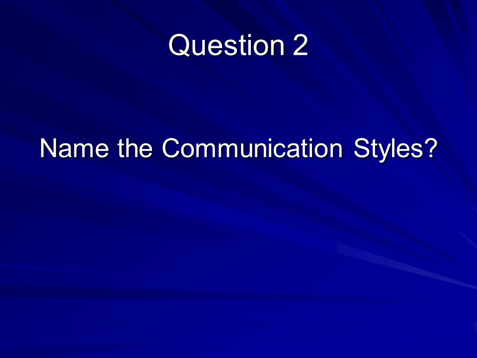 Name the Communication Styles Question 2