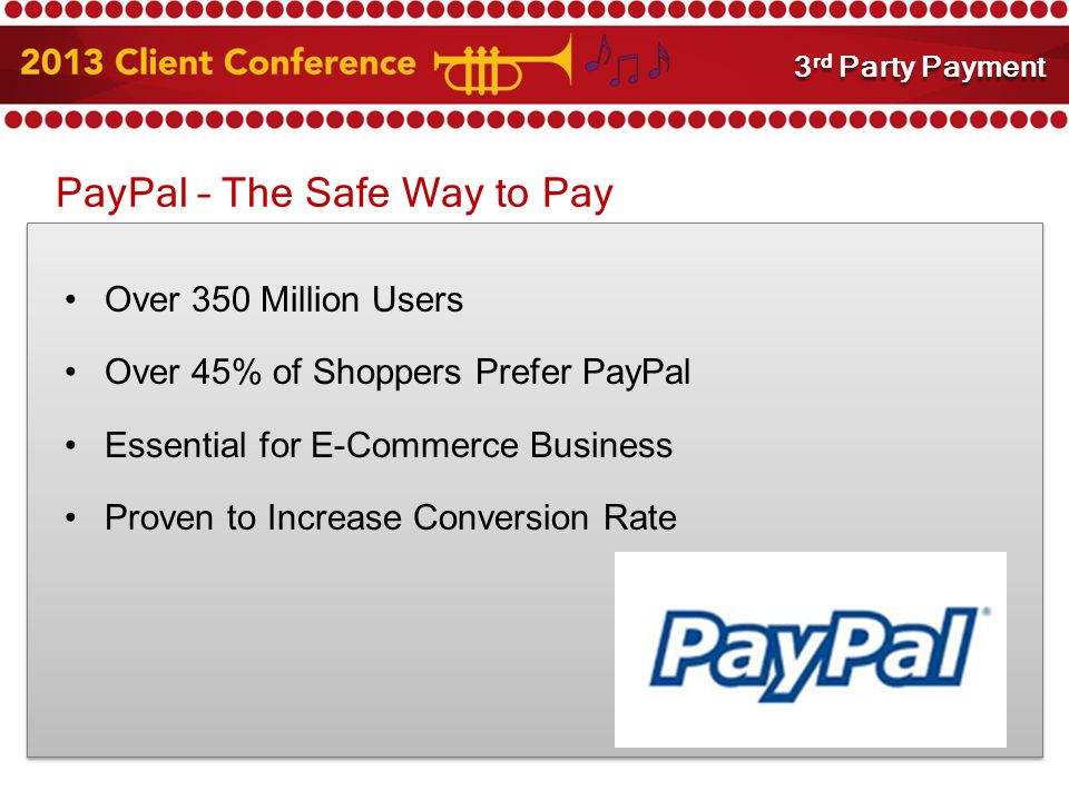 PayPal – The Safe Way to Pay Over 350 Million Users Over 45% of Shoppers Prefer PayPal Essential for E-Commerce Business Proven to Increase Conversion Rate 3 rd Party Payment Integration 3 rd Party Payment