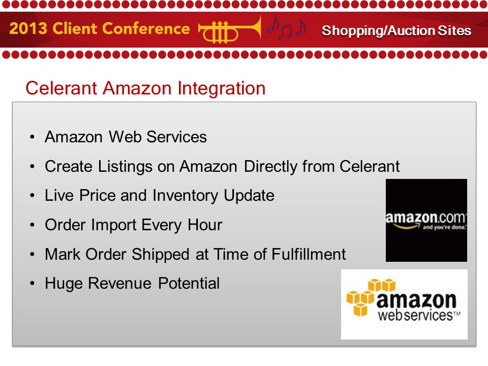 Celerant Amazon Integration Amazon Web Services Create Listings on Amazon Directly from Celerant Live Price and Inventory Update Order Import Every Hour Mark Order Shipped at Time of Fulfillment Huge Revenue Potential Amazon and eBay Integration Shopping/Auction Sites