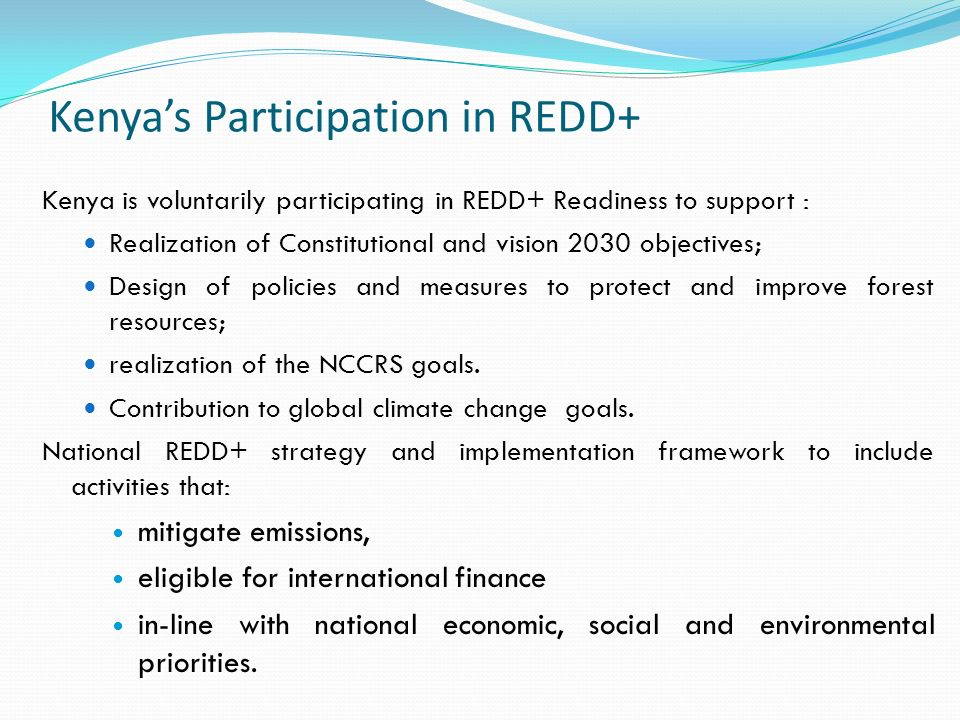 Kenya's Participation in REDD+ Kenya is voluntarily participating in REDD+ Readiness to support : Realization of Constitutional and vision 2030 objectives; Design of policies and measures to protect and improve forest resources; realization of the NCCRS goals.