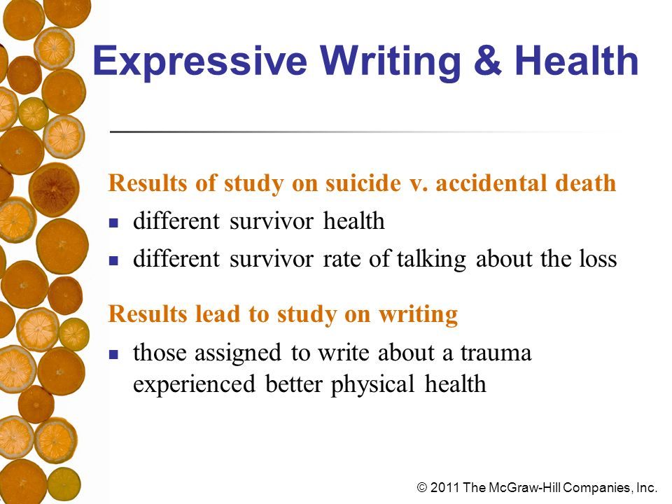 © 2011 The McGraw-Hill Companies, Inc. Expressive Writing & Health Results of study on suicide v.