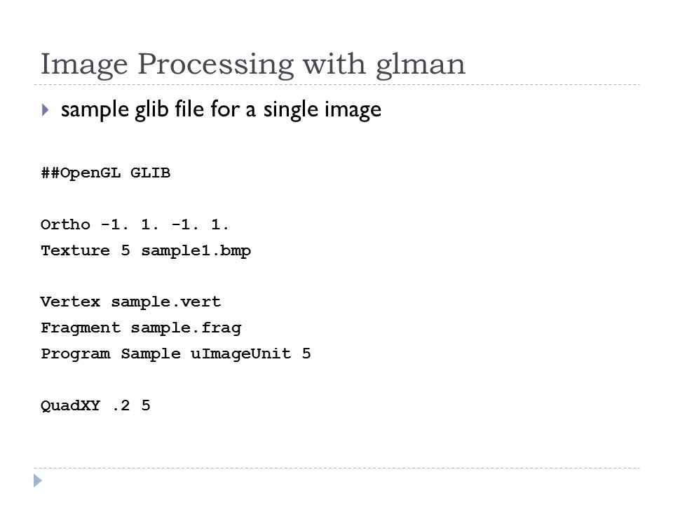 Image Processing   a typical image is simply a 2D array of