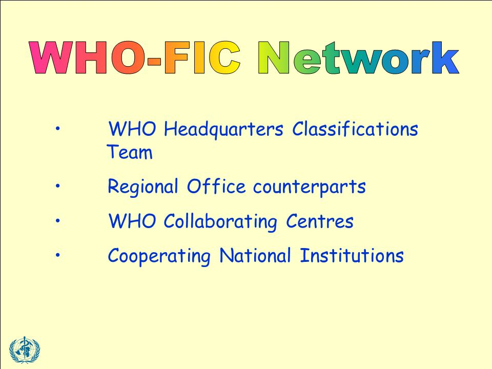 WHO Headquarters Classifications Team Regional Office counterparts WHO Collaborating Centres Cooperating National Institutions