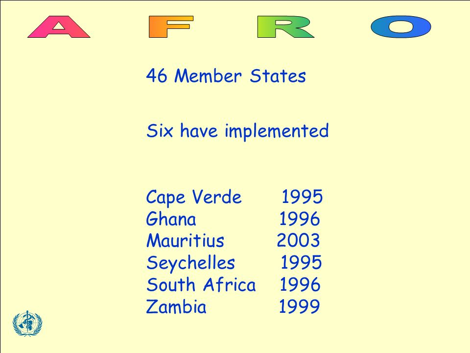 46 Member States Six have implemented Cape Verde 1995 Ghana 1996 Mauritius 2003 Seychelles 1995 South Africa 1996 Zambia 1999