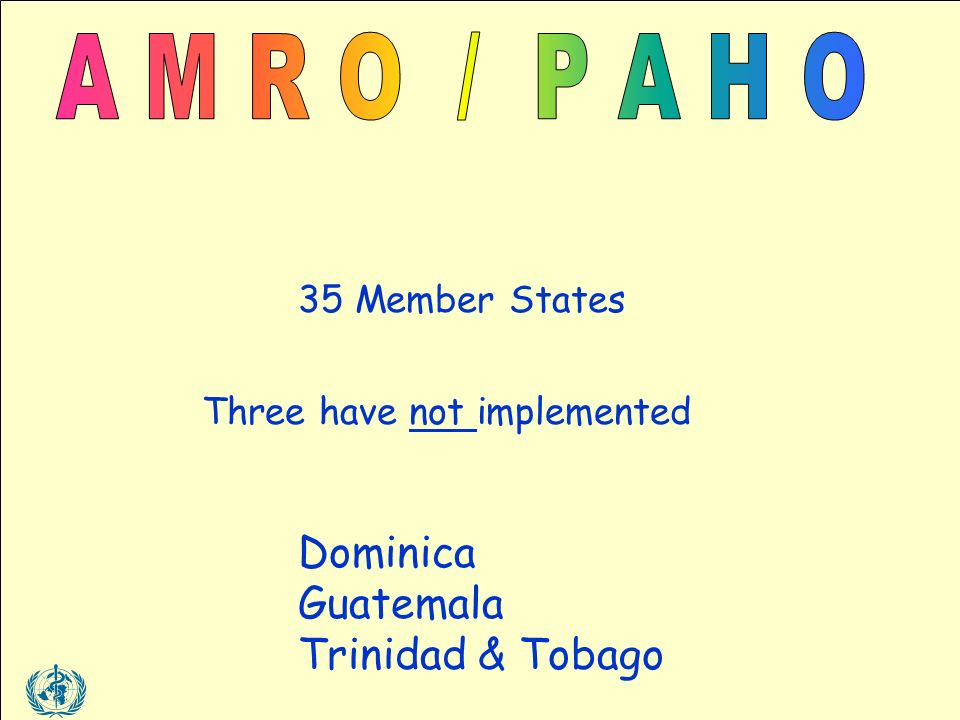 35 Member States Three have not implemented Dominica Guatemala Trinidad & Tobago