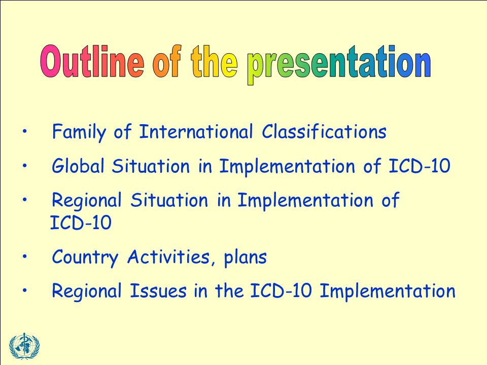Family of International Classifications Global Situation in Implementation of ICD-10 Regional Situation in Implementation of ICD-10 Country Activities, plans Regional Issues in the ICD-10 Implementation