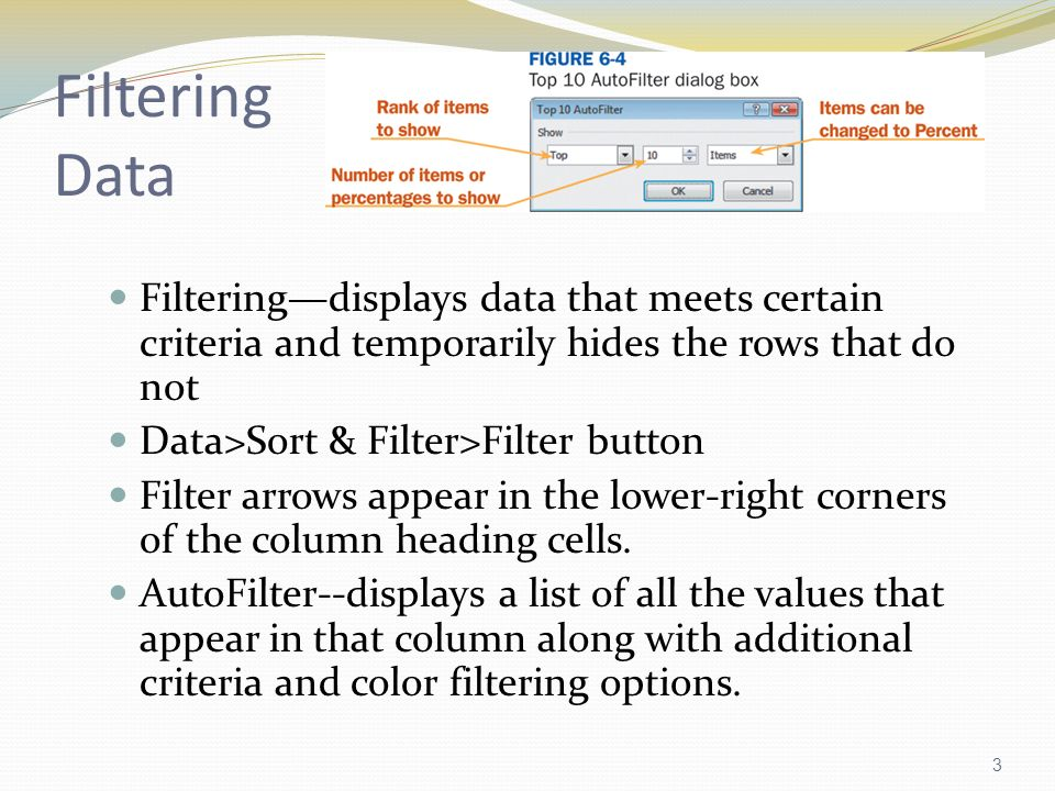 1  Sorting Data ascending sort—letters (A to Z) and #s