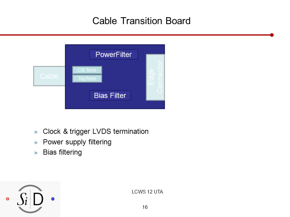 16 Cable Transition Board » Clock & trigger LVDS termination » Power supply filtering » Bias filtering Cable Clk Term TrigTerm Bias Filter PowerFilter Edge Connector LCWS 12 UTA