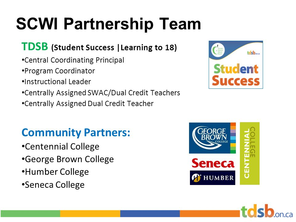 SCWI Partnership Team TDSB (Student Success |Learning to 18) Central Coordinating Principal Program Coordinator Instructional Leader Centrally Assigned SWAC/Dual Credit Teachers Centrally Assigned Dual Credit Teacher Community Partners: Centennial College George Brown College Humber College Seneca College