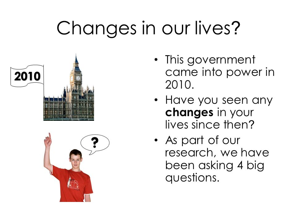 Changes in our lives . This government came into power in