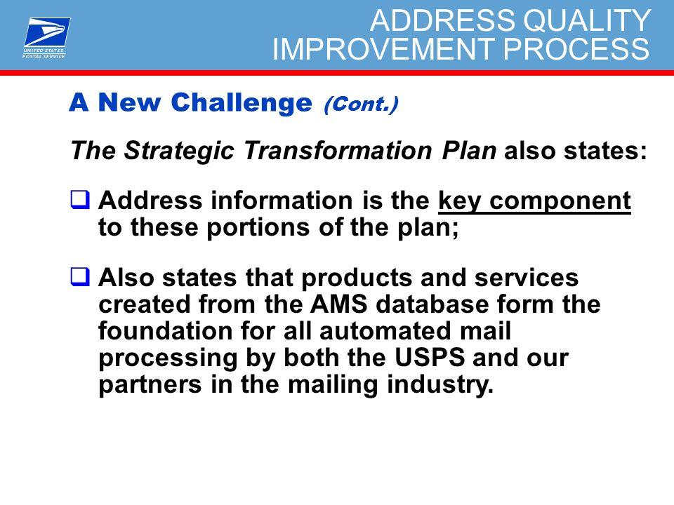 ADDRESS QUALITY IMPROVEMENT PROCESS (AQIP) Address