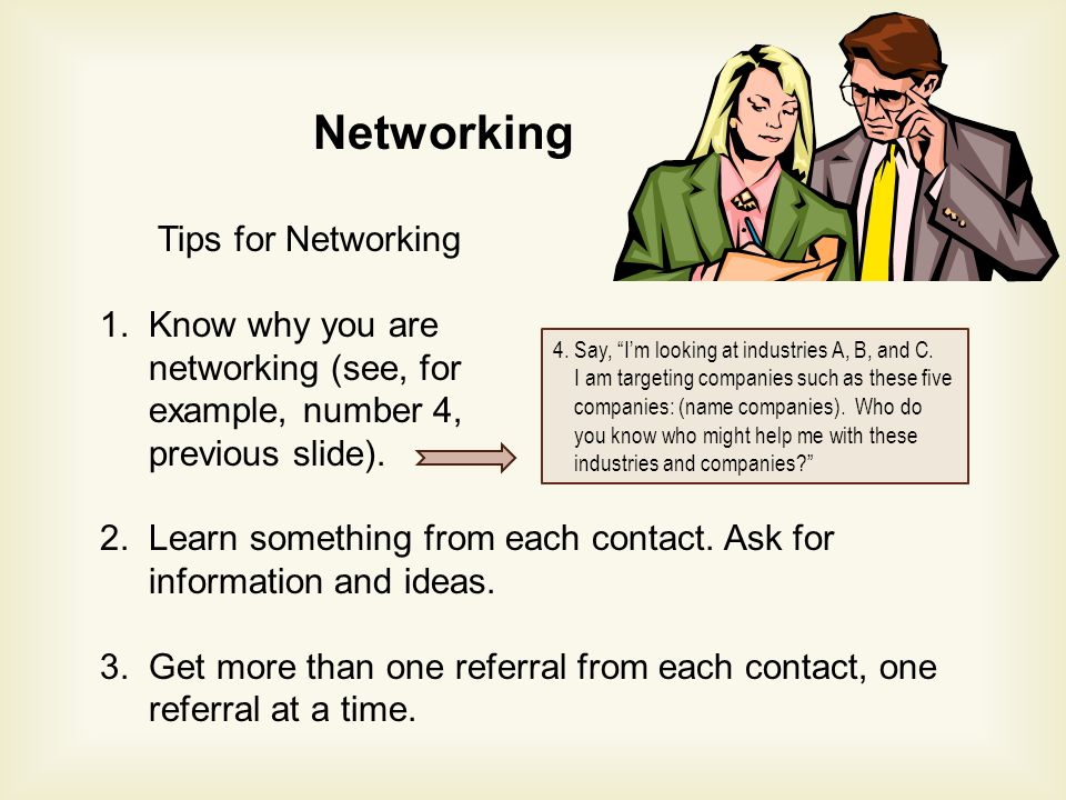 Networking Tips for Networking 1.