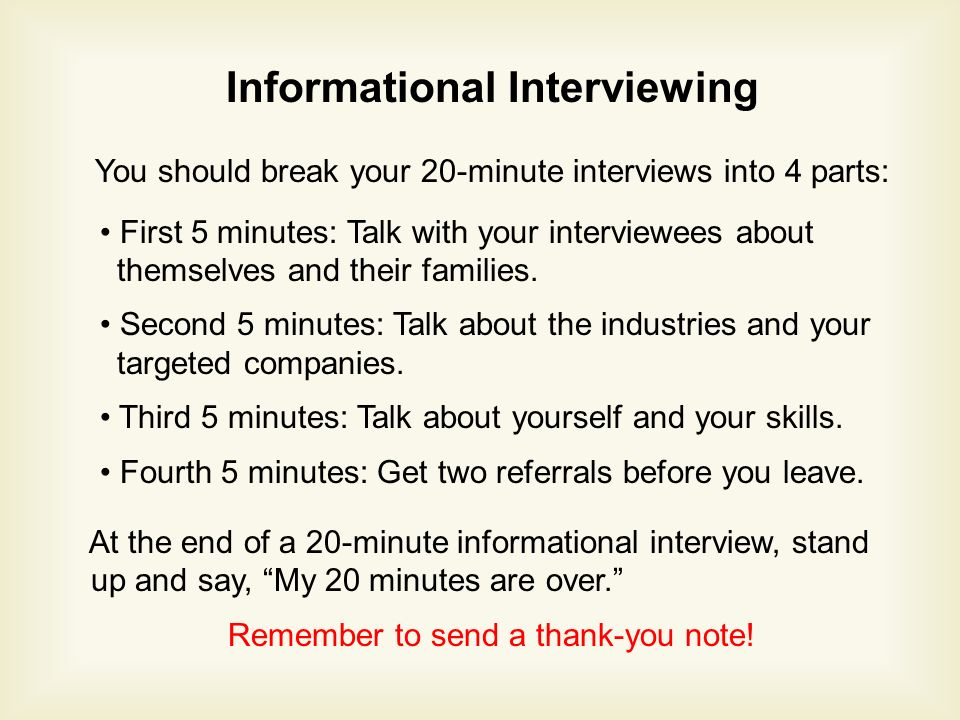 Informational Interviewing You should break your 20-minute interviews into 4 parts: First 5 minutes: Talk with your interviewees about themselves and their families.