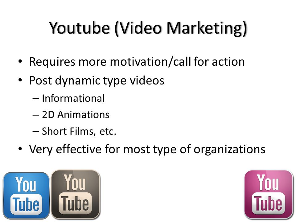 Requires more motivation/call for action Post dynamic type videos – Informational – 2D Animations – Short Films, etc.