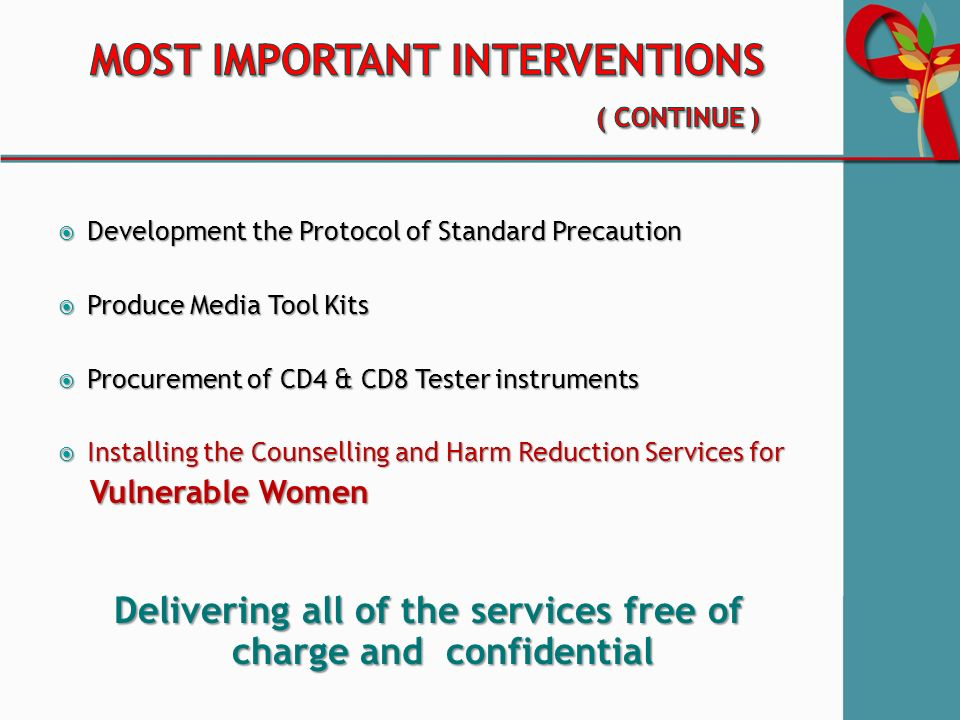  Development the Protocol of Standard Precaution  Produce Media Tool Kits  Procurement of CD4 & CD8 Tester instruments  Installing the Counselling and Harm Reduction Services for Vulnerable Women Vulnerable Women Delivering all of the services free of charge and confidential
