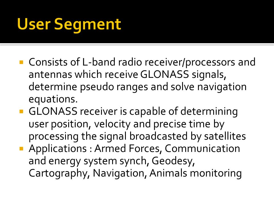  Consists of L-band radio receiver/processors and antennas which receive GLONASS signals, determine pseudo ranges and solve navigation equations.