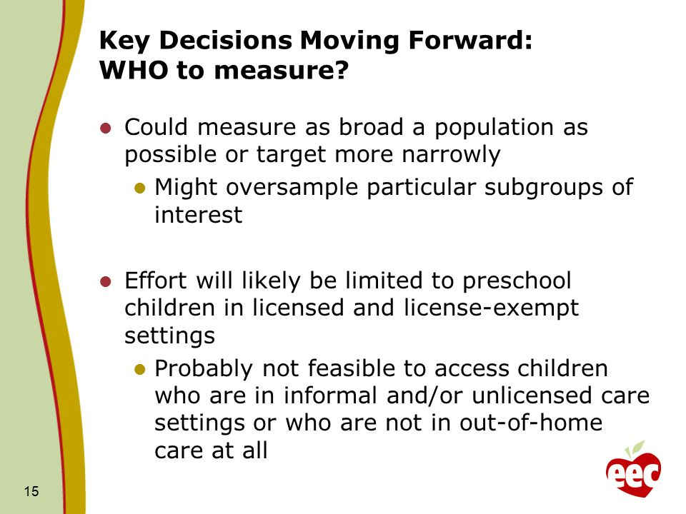 15 Key Decisions Moving Forward: WHO to measure.
