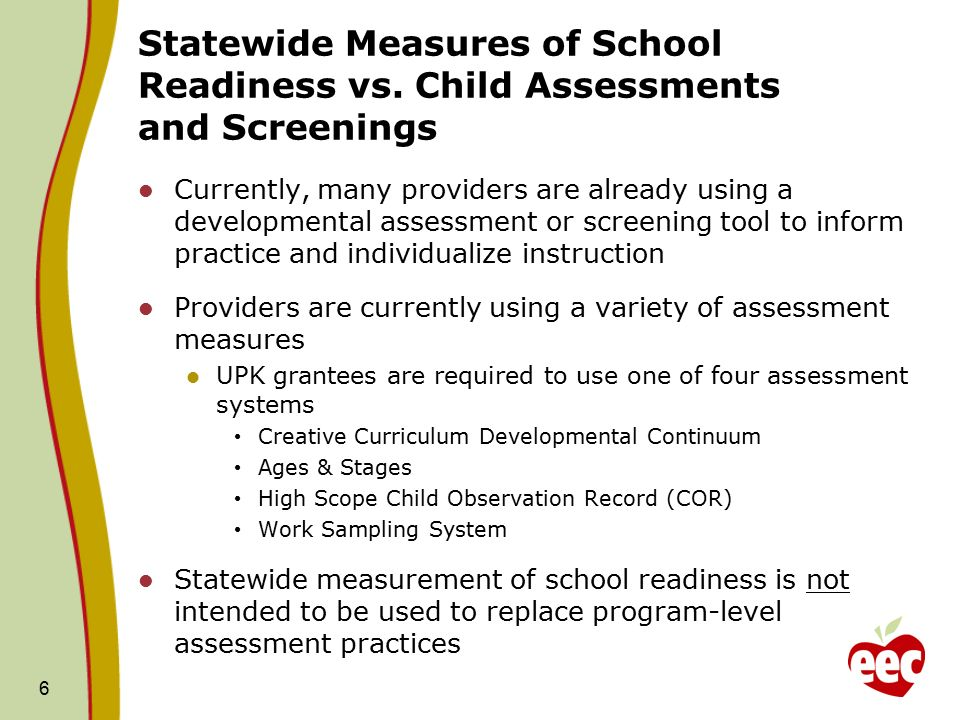 6 Statewide Measures of School Readiness vs.