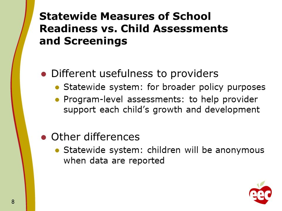 8 Statewide Measures of School Readiness vs.