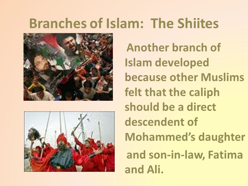 Branches of Islam: The Shiites Another branch of Islam developed because other Muslims felt that the caliph should be a direct descendent of Mohammed's daughter and son-in-law, Fatima and Ali.