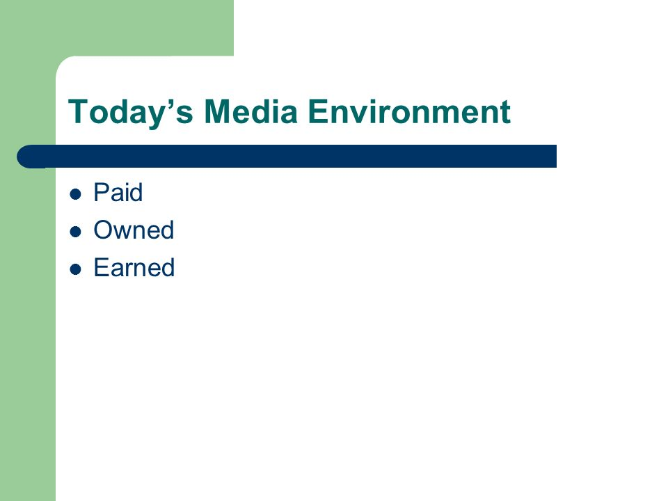 Today's Media Environment Paid Owned Earned