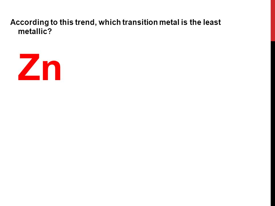 According to this trend, which transition metal is the least metallic Zn