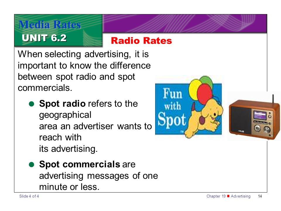 Chapter 19 Advertising14 UNIT 6.2 Media Rates When selecting advertising, it is important to know the difference between spot radio and spot commercials.