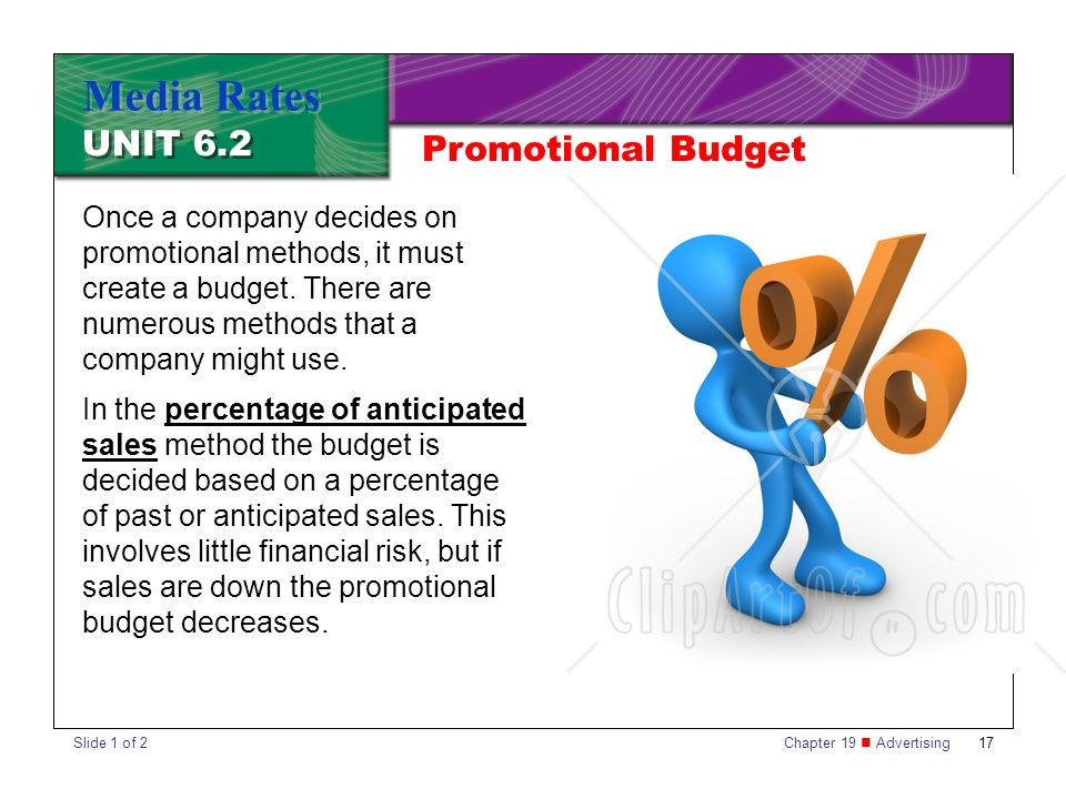 Chapter 19 Advertising17 UNIT 6.2 Media Rates Once a company decides on promotional methods, it must create a budget.