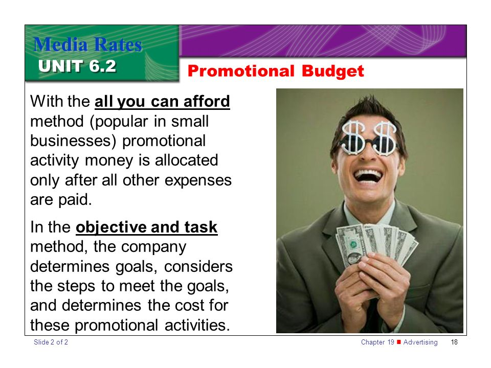 Chapter 19 Advertising18 UNIT 6.2 Media Rates With the all you can afford method (popular in small businesses) promotional activity money is allocated only after all other expenses are paid.