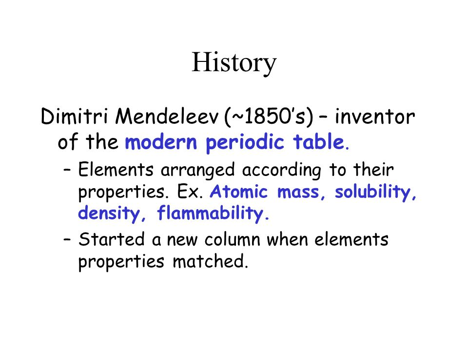 The Periodic Table History Dimitri Mendeleev 1850s Inventor