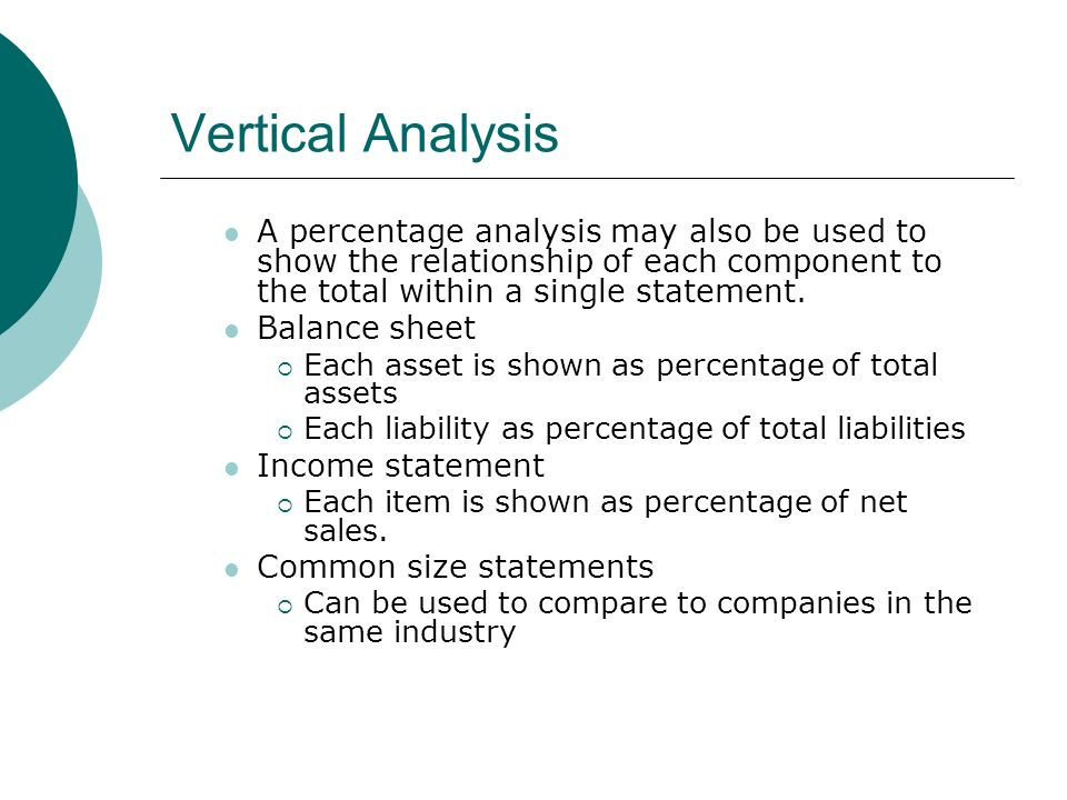 Vertical Analysis A percentage analysis may also be used to show the relationship of each component to the total within a single statement.