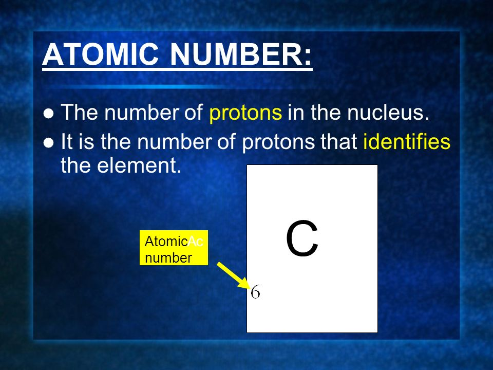 ATOMIC NUMBER: The number of protons in the nucleus.