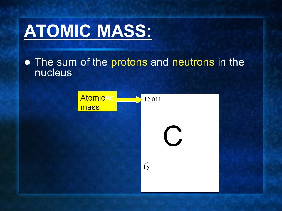ATOMIC MASS: The sum of the protons and neutrons in the nucleus C AtomicAc mass