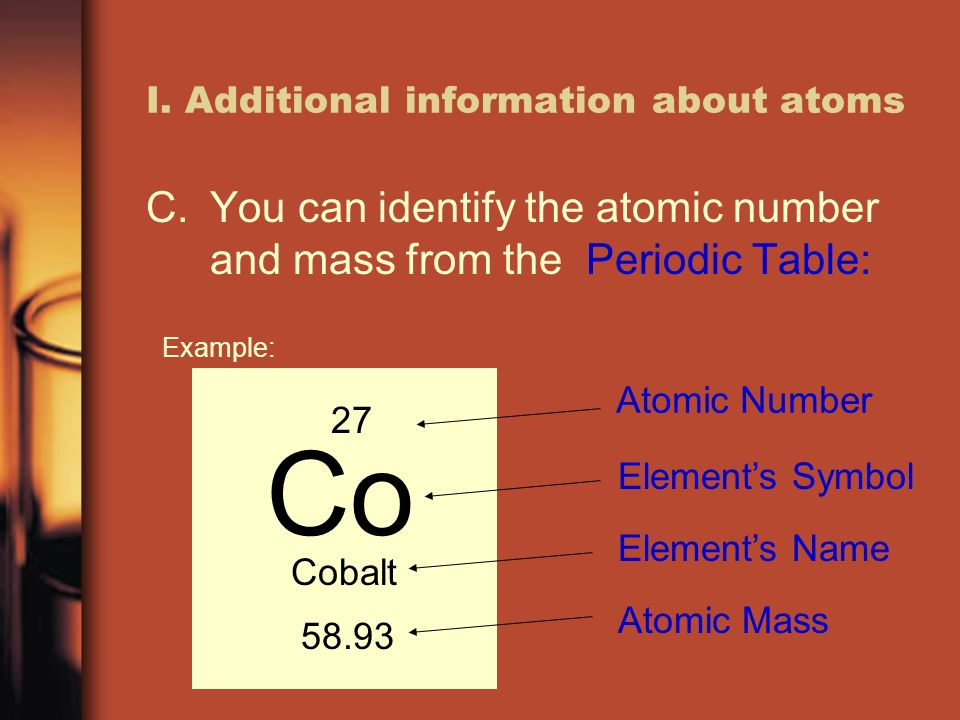 Matter lecture 3 atoms and the periodic table of elements ppt 3 i additional information about atoms cyou can identify the atomic number and mass from the periodic table example urtaz Image collections