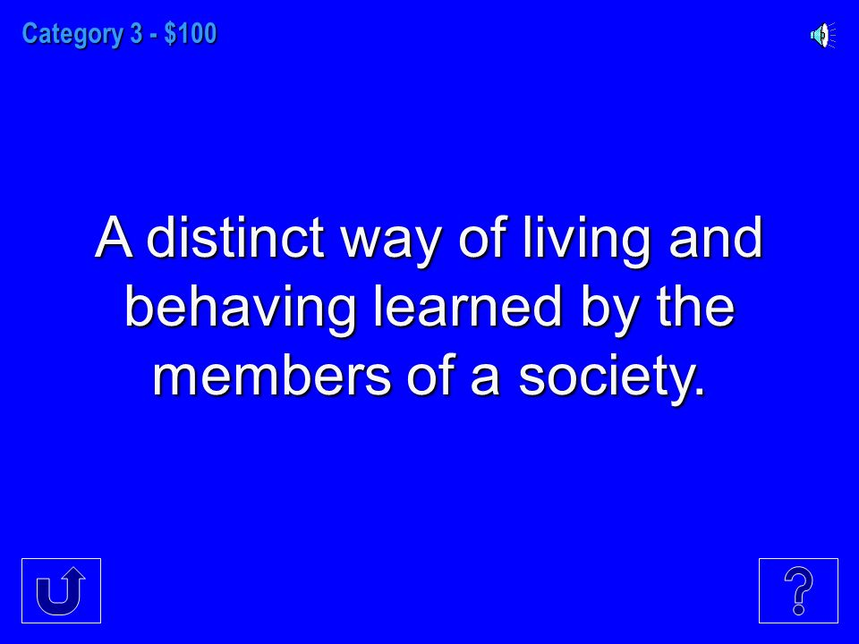 Category 3 - $100 A distinct way of living and behaving learned by the members of a society.