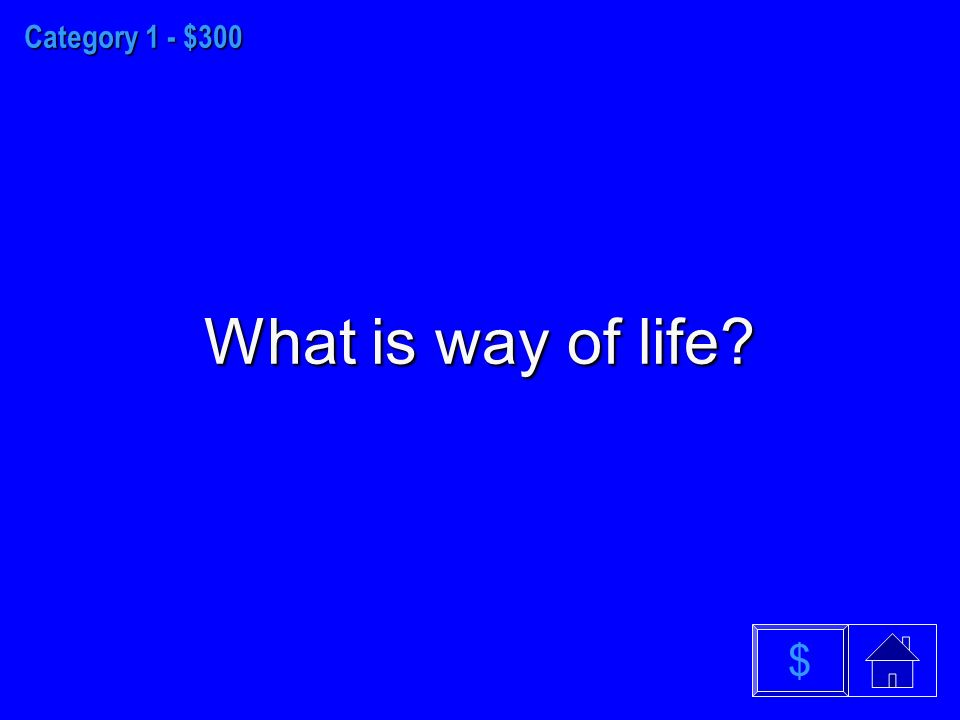 Category 1 - $300 What is way of life $