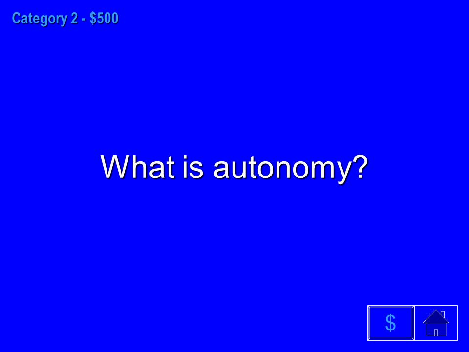 Category 2 - $500 What is autonomy $
