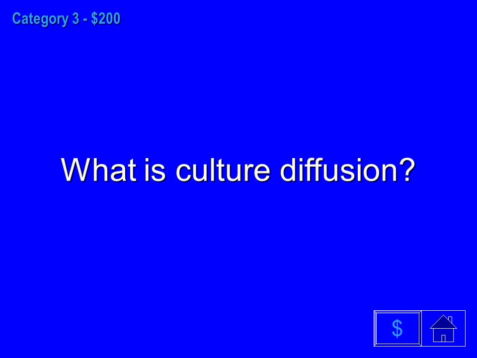 Category 3 - $200 What is culture diffusion $