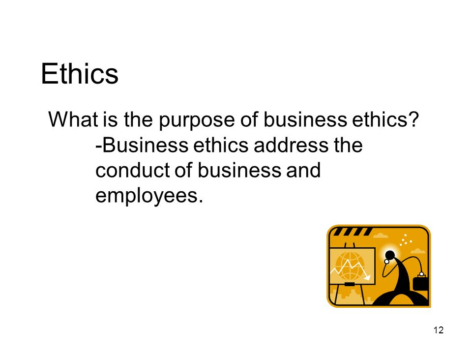 Ethics What is the purpose of business ethics.