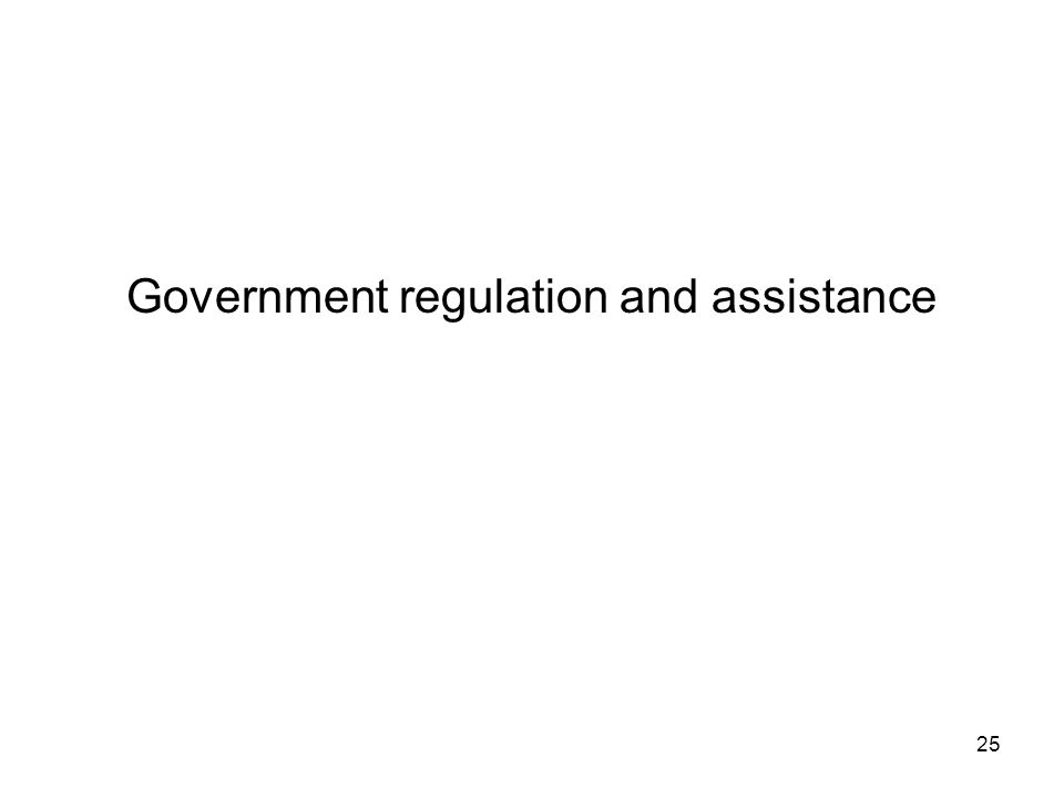 Government regulation and assistance 25