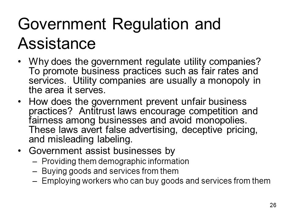 Government Regulation and Assistance Why does the government regulate utility companies.