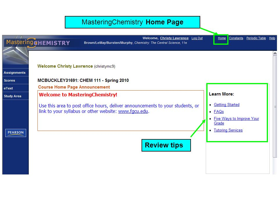 MasteringChemistry Home Page Review tips