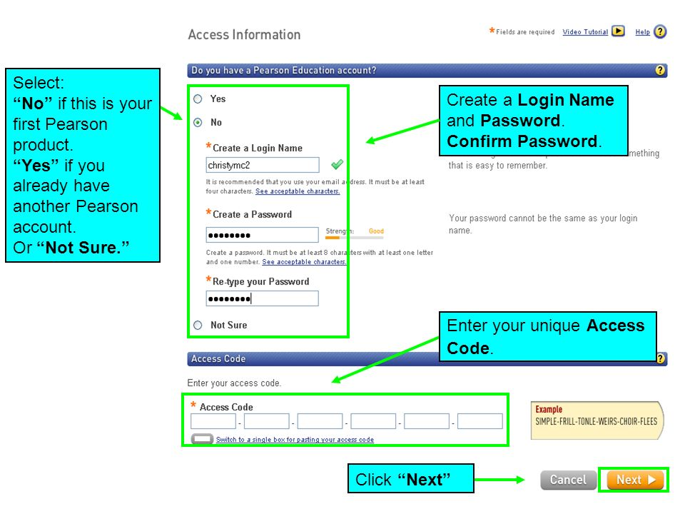Create a Login Name and Password. Confirm Password.