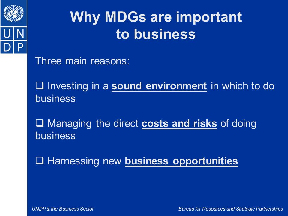 UNDP & the Business SectorBureau for Resources and Strategic Partnerships Why MDGs are important to business Three main reasons:  Investing in a sound environment in which to do business  Managing the direct costs and risks of doing business  Harnessing new business opportunities
