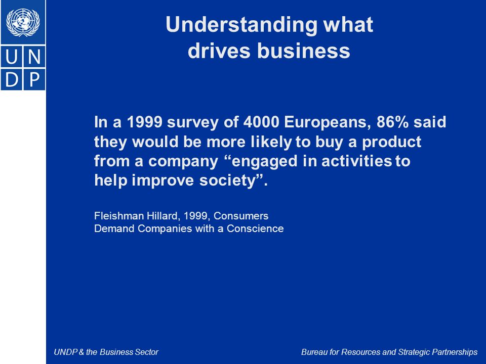 UNDP & the Business SectorBureau for Resources and Strategic Partnerships Understanding what drives business In a 1999 survey of 4000 Europeans, 86% said they would be more likely to buy a product from a company engaged in activities to help improve society .