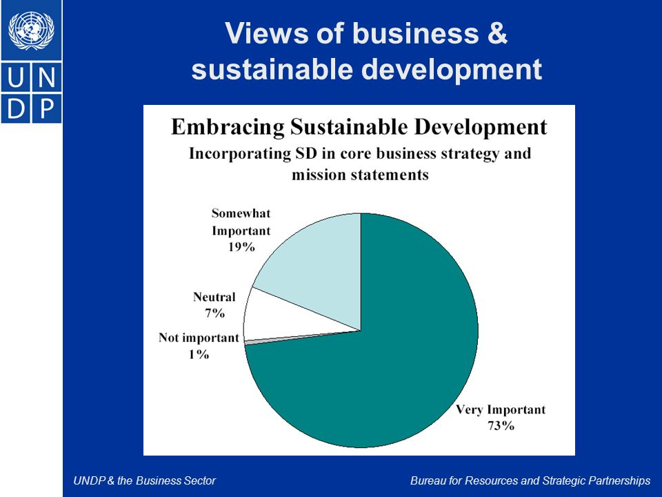 UNDP & the Business SectorBureau for Resources and Strategic Partnerships Views of business & sustainable development